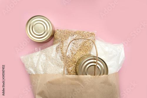 Vászonkép Rice, canned food, barley, sugar.
