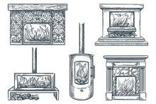 Fireplaces Vector Sketch Illustration. House Interior Vintage Design Elements. Old And Contemporary Home Chimneys