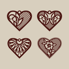 Set Stencil Lacy Hearts With C...