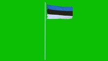 Estonia Flag Waving On Wind On...