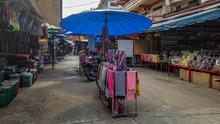 Empty Outdoor Shopping Market In Tachileik, Myanmar