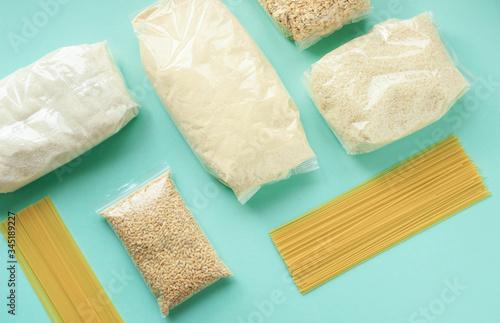 pearl barley, sugar, rice, oatmeal,spaghetti, semolina, beans in a package are o Tapéta, Fotótapéta