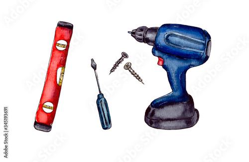 watercolor illustration tools for repair, set, isolated Fototapeta