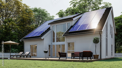 Foto White Scandinavian house with solar panel on black roof
