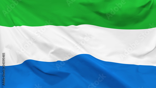 Valokuva Fragment of a waving flag of the Republic of Sierra Leone in the form of backgro