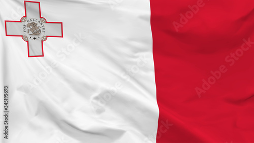 Fragment of a waving flag of the Republic of Malta in the form of background, as Canvas-taulu