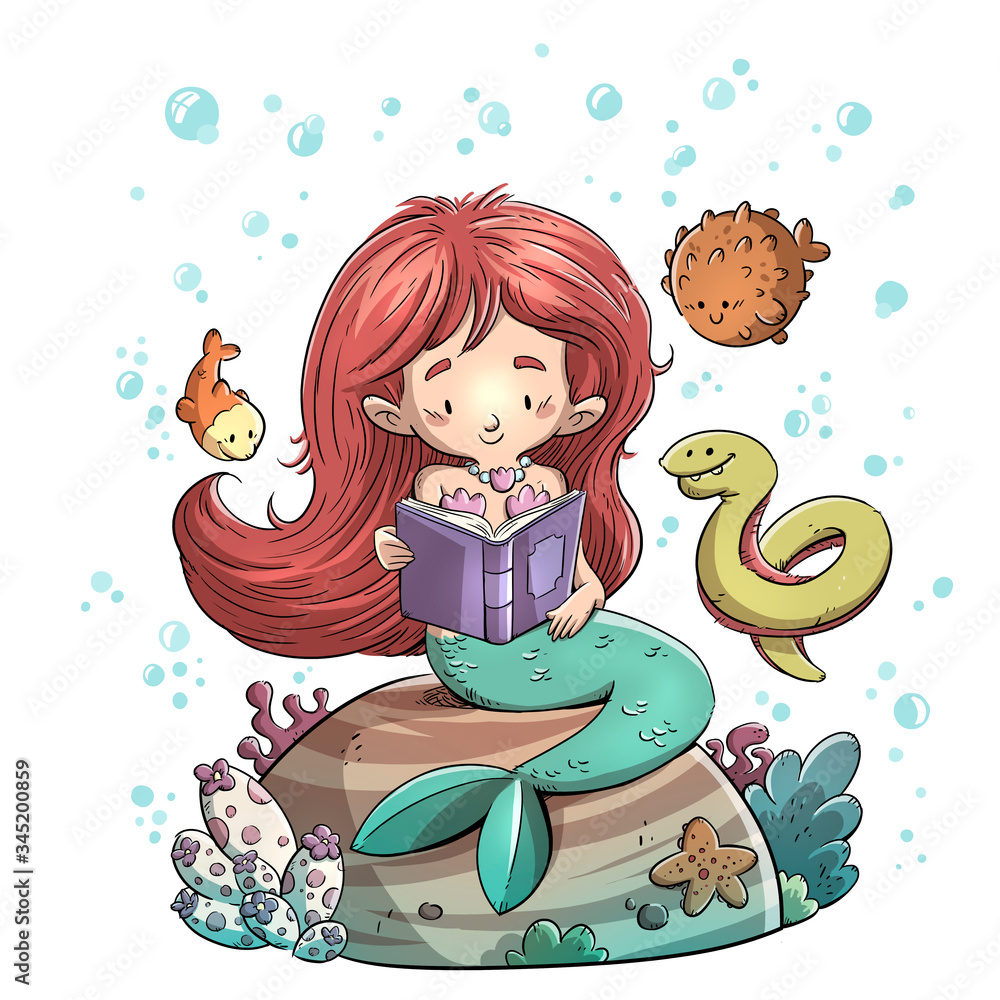 Fototapeta Mermaid reading a book surrounded by fish