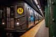 NEW YORK CITY, MANHATTAN - MAY 02, 2020: Empty Subway Station in  New York during Corona Virus Epidemic