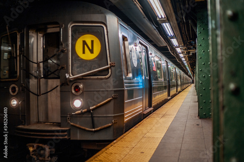 NEW YORK CITY, MANHATTAN - MAY 02, 2020: Empty Subway Station in  New York durin Canvas Print