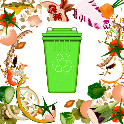 Composting pile of rotting kitchen fruits and vegetable scraps garbage waste #345216436