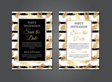 Feather Elegant Gold Invitation Design