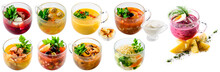 Set Of Collage Soups Isolated
