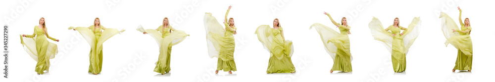 Fototapeta Young woman in elegant long green dress isolated on white