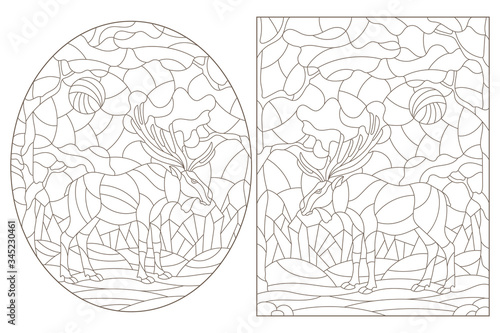 Photo Set of contour illustrations of stained glass Windows with wild mooses on a back