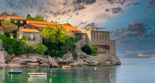 Aman Sveti Stefan island in Budva in a beautiful summer day, Montenegro Wallpaper Mural
