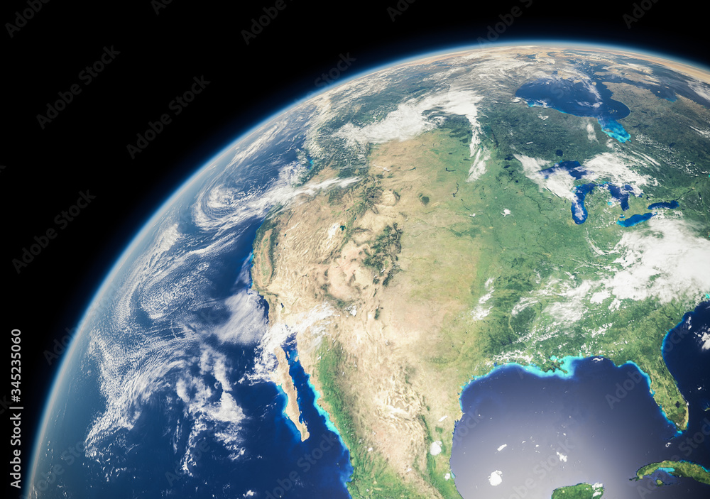 Fototapeta North America from Space during Day - Canada, United States of America and Mexico - Earth Curvature and Atmosphere - The Blue Marble