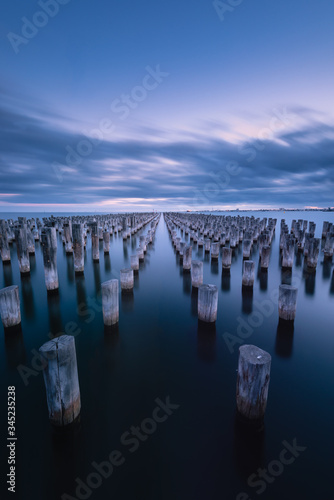 Rows of pylons at Princes Pier, Port Melbourne Canvas Print
