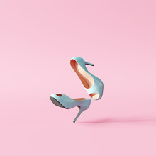 Blue High Heels On Pastel Pink...