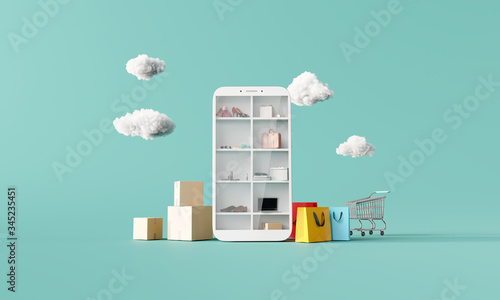 Online shopping concept on smartphone on blue background. 3d rendering