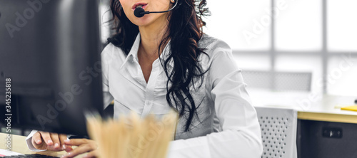 Beautiful happy call center smiling businesswoman operator customer support cons Canvas Print