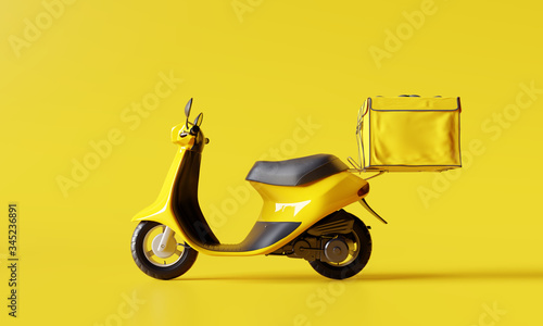 Fotografie, Tablou Delivery scooter with food box on yellow background