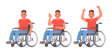 Set Of Character A Young Man With Disabilities. Happy Guy In A Wheelchair. Disabled. Vector Illustration