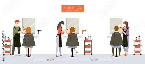 Obraz Interior Decoration of Hair Salon, Beauty salon, Barber Shop With Customer, Hairdresser, Furniture And Equipments - fototapety do salonu
