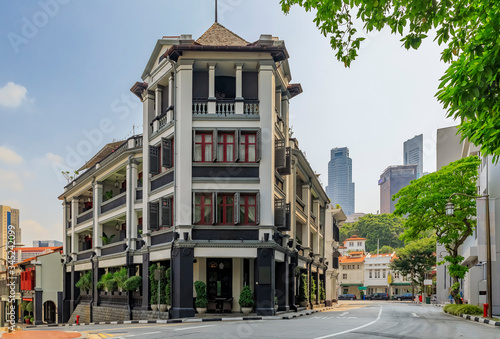 Famous Club street in Singapore Chinatown with colorful colonial shop houses Wallpaper Mural