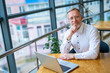 Mature businessman sitting at table with laptop. Sitting near the window in office. Panoramic city view background. Business photo.