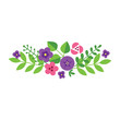 Floral design element. Bouquet of violet and pink summer flowers on a white background. Vector 8 EPS.