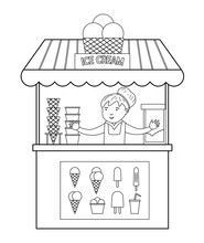 Vector Black And White Ice Cream Stall With Seller. Line Ice-cream Stand Illustration. Beach Dessert Shop Contour. Cute Summer Coloring Page For Kids..