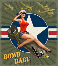 Vintage Poster With Pin-up Girl On Bomb.