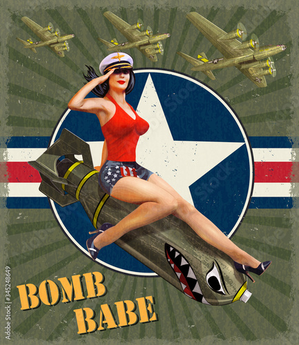 Fotografie, Obraz Vintage poster with pin-up girl on bomb.