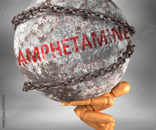 Leinwand Poster Amphetamine and hardship in life - pictured by word Amphetamine as a heavy weigh