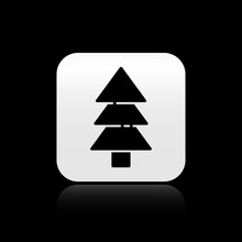 Black Tree Icon Isolated On Bl...