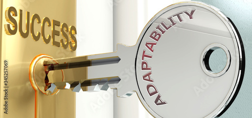Adaptability and success - pictured as word Adaptability on a key, to symbolize Wallpaper Mural