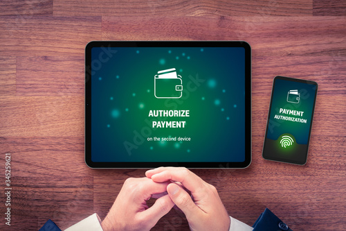 Photo Online payment authorization on smart phone concept