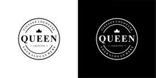 Queen Vintage Logotype Stamp E...