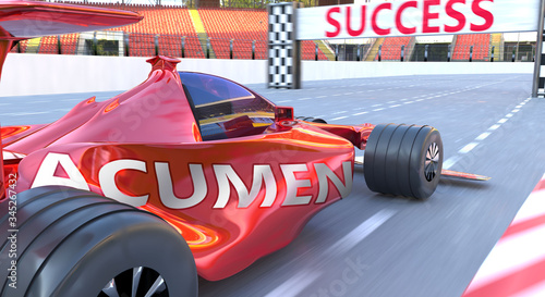 Photo Acumen and success - pictured as word Acumen and a f1 car, to symbolize that Acu