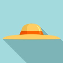 Sun Protection Woman Hat Icon. Flat Illustration Of Sun Protection Woman Hat Vector Icon For Web Design