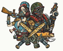 Post Apocalypse Tattoo And T-shirt Design. Doomsday, Survival People. Post Apocalyptic Future. Game Art. Dark Crime Future. Soldier Woman In Gas Mask And Futuristic Warrior With Weapon In Hand