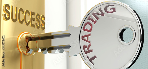 Valokuva Trading and success - pictured as word Trading on a key, to symbolize that Tradi