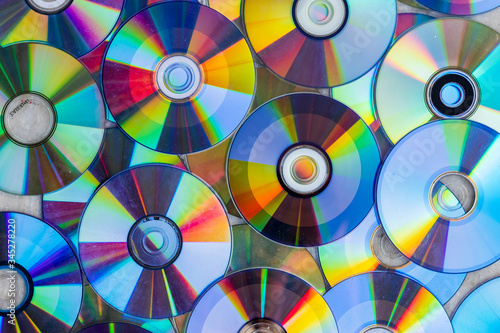 Pile of compact discs. Retro technology #345278220