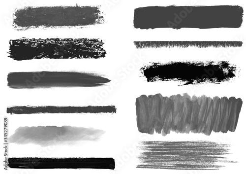 Schwarze und graue unordentlich gemalte Linien und Markierungen mit Pinsel und S Canvas Print