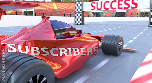 Fotografija Subscribers and success - pictured as word Subscribers and a f1 car, to symboliz