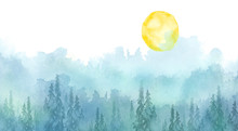 Watercolor Picture Of Mountain...