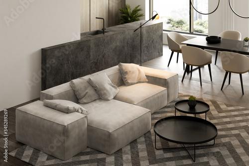 Fotomural Minimalist Interior of modern living room 3D rendering