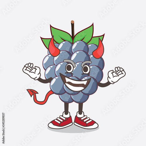 Fotografija Dewberries Fruit cartoon mascot character as red devil with horns and tail