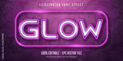 Fotografie, Tablou Neon lights signage style editable font effect