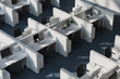 White office cubicles, top view